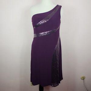 R&M Richards Purple One Shoulder Sequin Dress 14